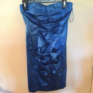 Cache strapless blue dress